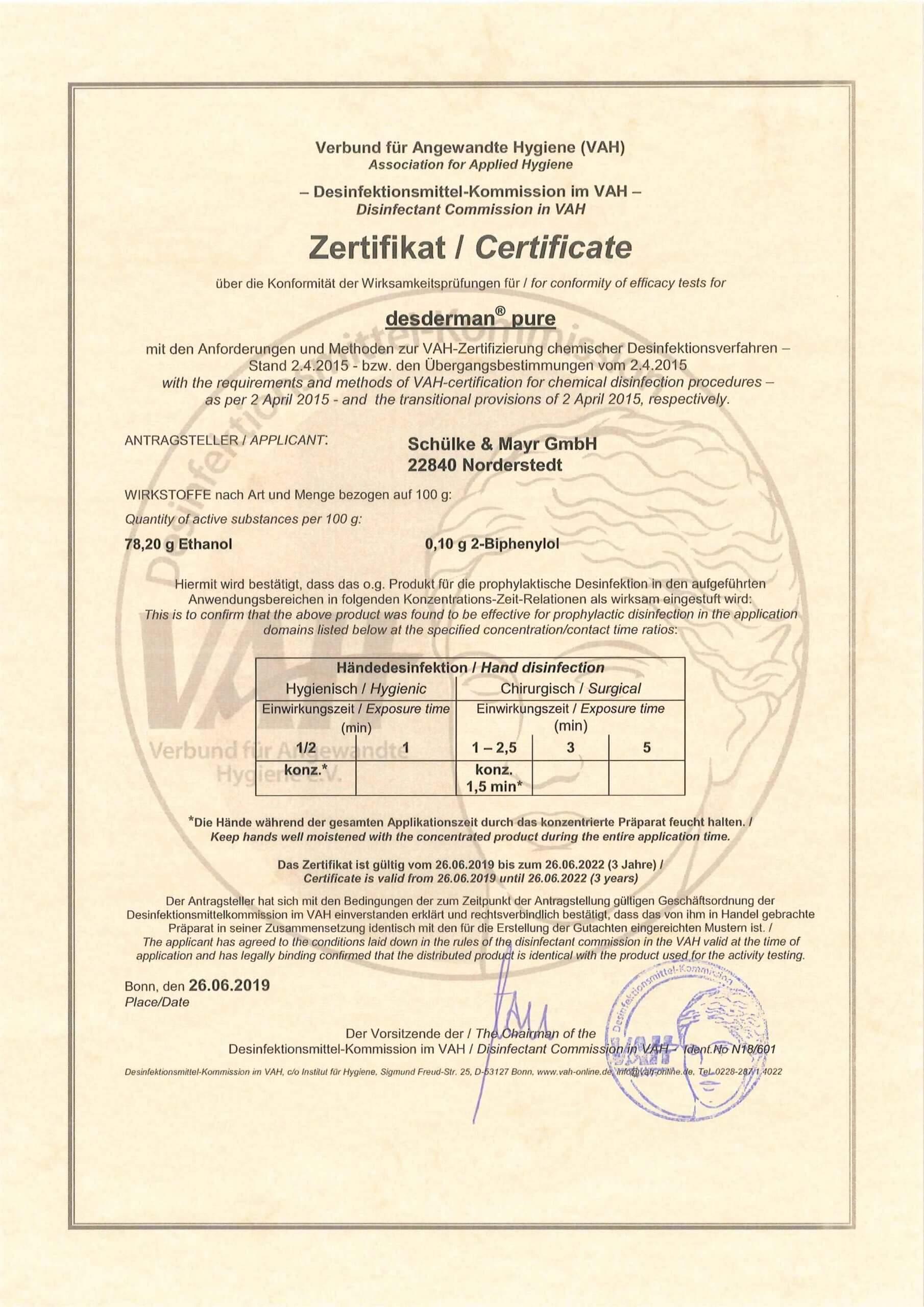 desderman pure_VAH_Zertifikat_gültig 26-06-2019 - 26.06.2022